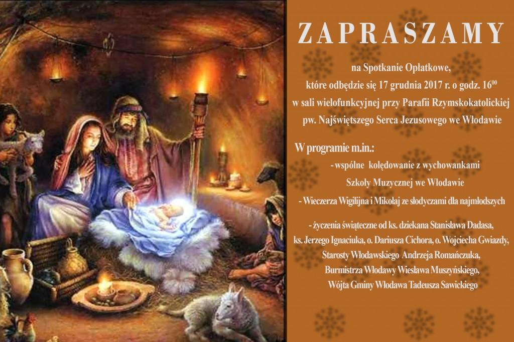 Zaproszenie Wigilia 2017 r.